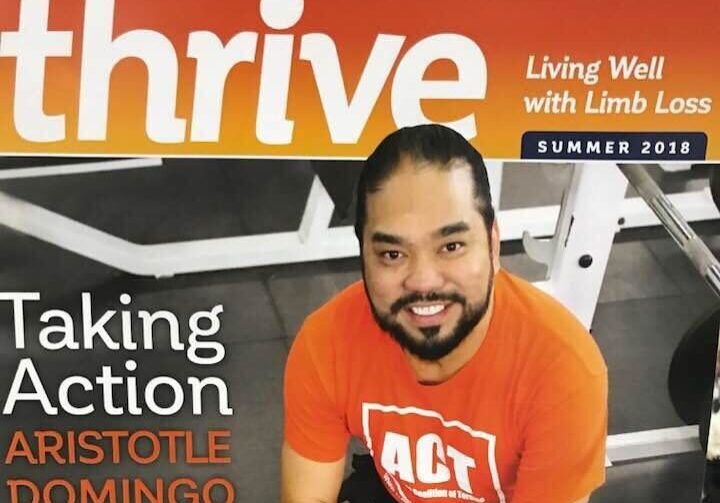 Thrive Magazine cover. Aristotle is sitting with his arms crossed. Headline reads Taking Action - Aristotle Domingo and Peer Support